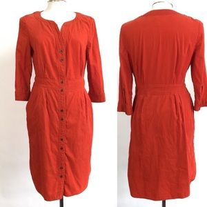 Anthropologie Maeve Orange Corduroy Button Dress